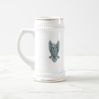 Owl Swooping Wings Clock Gears Tattoo Beer Stein