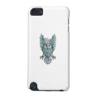 Owl Swooping Wings Clock Gears Tattoo iPod Touch 5G Covers