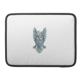 Owl Swooping Wings Clock Gears Tattoo MacBook Pro Sleeves