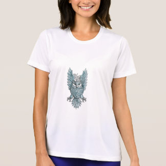 Owl Swooping Wings Clock Gears Tattoo T-Shirt