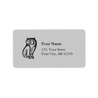 Owl Symbol Black Address Label