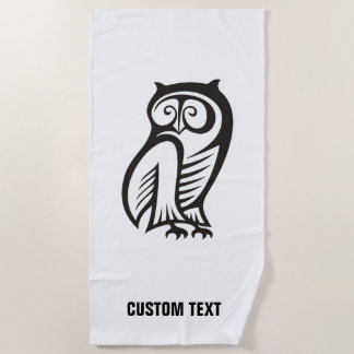 Owl Symbol Black Beach Towel