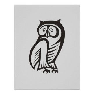 Owl Symbol Black Personalized Invitations