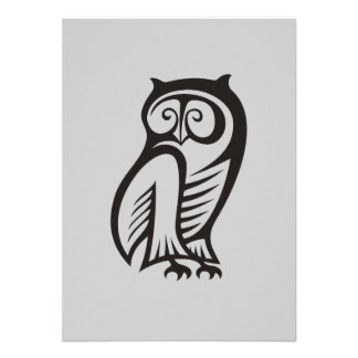 Owl Symbol Black Personalized Announcement