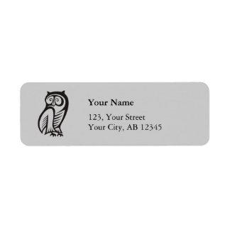 Owl Symbol Black Return Address Labels