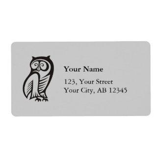 Owl Symbol Black Shipping Label