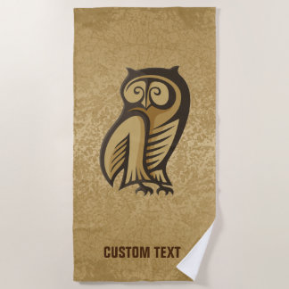 Owl Symbol Color Beach Towel