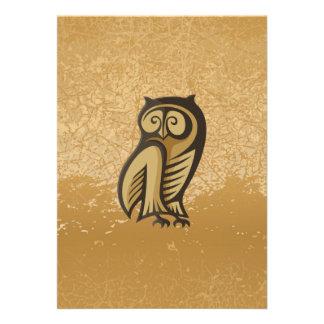 Owl Symbol Color Custom Invitations