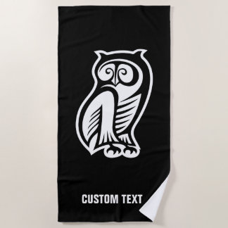 Owl Symbol White Beach Towel