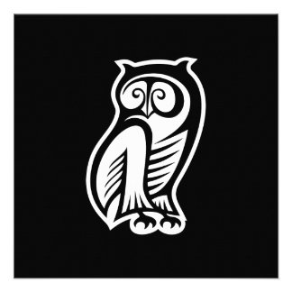 Owl Symbol White Personalized Invitations