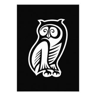 Owl Symbol White Custom Invites