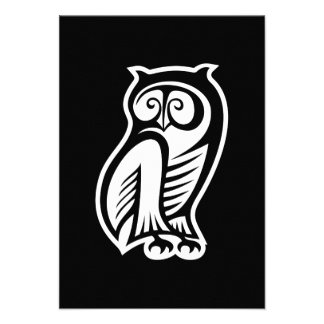 Owl Symbol White Invites