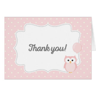 Owl Thank You Card (Pink)