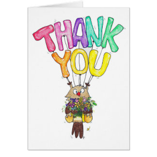 OWL THANK YOU greeting card by Nicole Janes