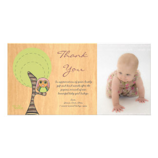 Owl Thank You New Baby Girl Arrival Gift Photocard Card