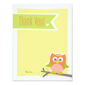 """Owl Thank You Note Card 4.25"""" X 5.5"""" Invitation Card"""