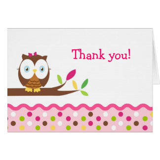 Owl Thank You Note Cards girls