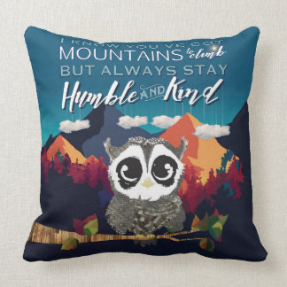 Owl Throw Pillow Baby Boy's Room, Humble and KIND