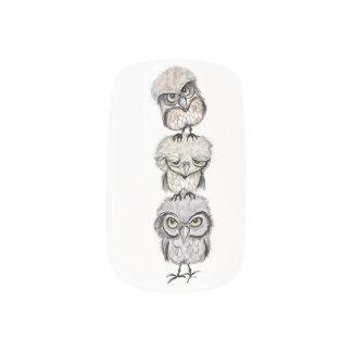 owl totem minx nail art