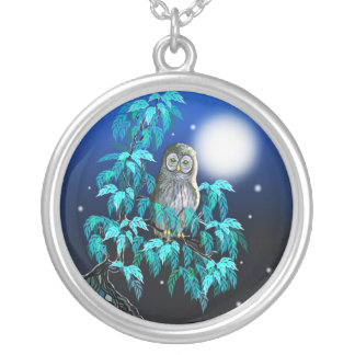 Owl Tree Moon Fireflies Silver Plated Necklace