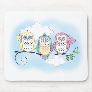 Owl Trio Mouse Pad