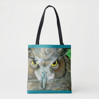 Owl: Turquoise Accent w/ Feather Detail Back Tote Bag