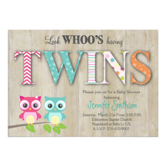 "Owl TWINS Baby Shower - Look Whoo's Having a Baby 5"" X 7"" Invitation Card"