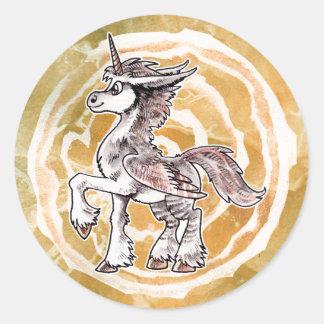 Owl Unicorn Classic Round Sticker