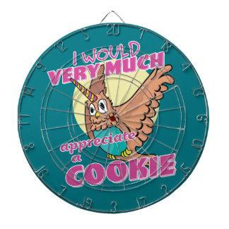 Owl Unicorn I Would Very Much Appreciate a Cookie Dartboard