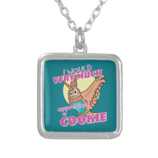 Owl Unicorn I Would Very Much Appreciate a Cookie Silver Plated Necklace