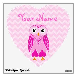 Owl Wall Decals: Pink Owl Wall Sticker