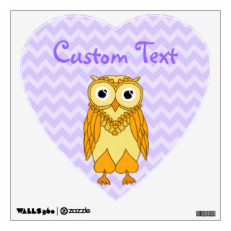 Owl Wall Decals: Yellow and Purple Owl Wall Decal
