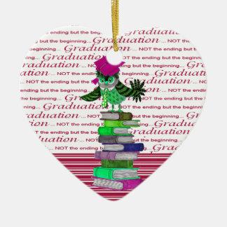 Owl Wearing Tie and Grad Cap on Top of Books, Grad Ceramic Heart Ornament