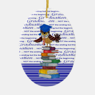 Owl Wearing Tie and Grad Cap on Top of Books, Grad Ceramic Oval Ornament