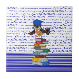 Owl Wearing Tie and Grad Cap on Top of Books, Grad Ceramic Tile