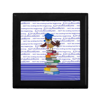 Owl Wearing Tie and Grad Cap on Top of Books, Grad Gift Box