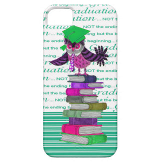 Owl Wearing Tie and Grad Cap on Top of Books, Grad iPhone 5 Cover