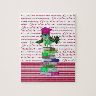 Owl Wearing Tie and Grad Cap on Top of Books, Grad Jigsaw Puzzle