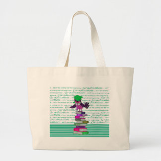 Owl Wearing Tie and Grad Cap on Top of Books, Grad Large Tote Bag