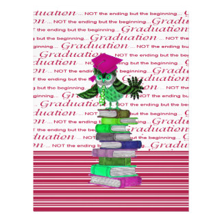 Owl Wearing Tie and Grad Cap on Top of Books, Grad Letterhead