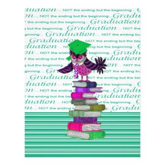 Owl Wearing Tie and Grad Cap on Top of Books, Grad Letterhead
