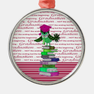 Owl Wearing Tie and Grad Cap on Top of Books, Grad Metal Ornament