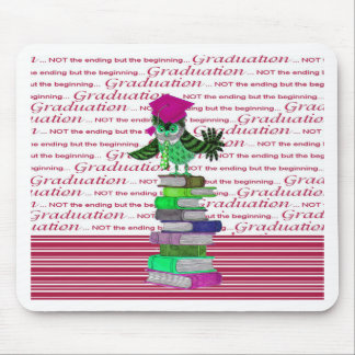 Owl Wearing Tie and Grad Cap on Top of Books, Grad Mouse Pad