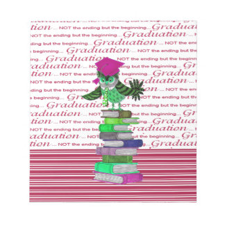 Owl Wearing Tie and Grad Cap on Top of Books, Grad Notepad