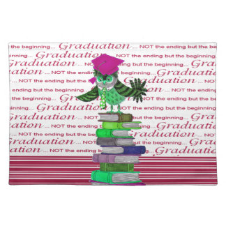 Owl Wearing Tie and Grad Cap on Top of Books, Grad Placemat