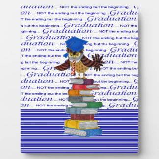 Owl Wearing Tie and Grad Cap on Top of Books, Grad Plaque