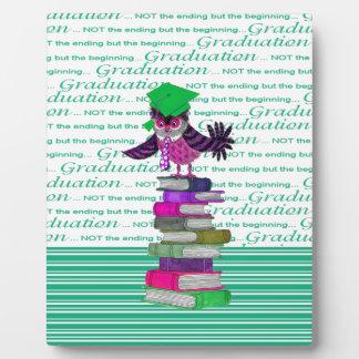 Owl Wearing Tie and Grad Cap on Top of Books, Grad Plaque