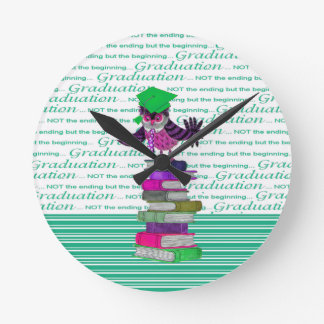Owl Wearing Tie and Grad Cap on Top of Books, Grad Round Clock