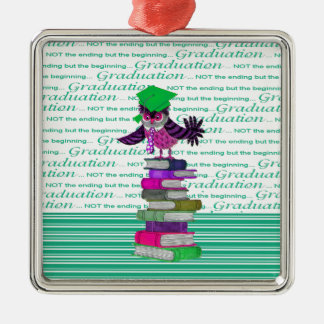 Owl Wearing Tie and Grad Cap on Top of Books, Grad Silver-Colored Square Ornament