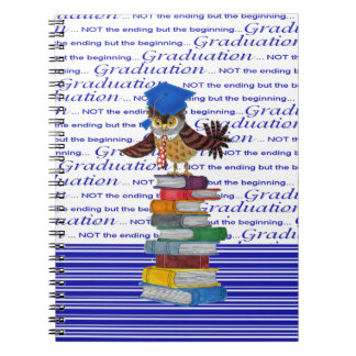 Owl Wearing Tie and Grad Cap on Top of Books, Grad Spiral Notebook